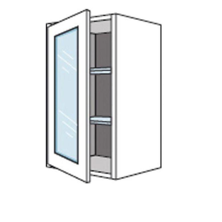 Meuble de cuisine haut avec 1 porte vitr e lumio h 70 cm - Meuble haut gris cuisine avec porte vitree 2 abattants ...