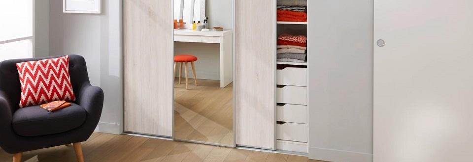 Portes coulissantes glisseo simples et astucieuses for Porte miroir lapeyre